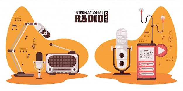 Día internacional de la radio con aparatos retro y micrófonos.