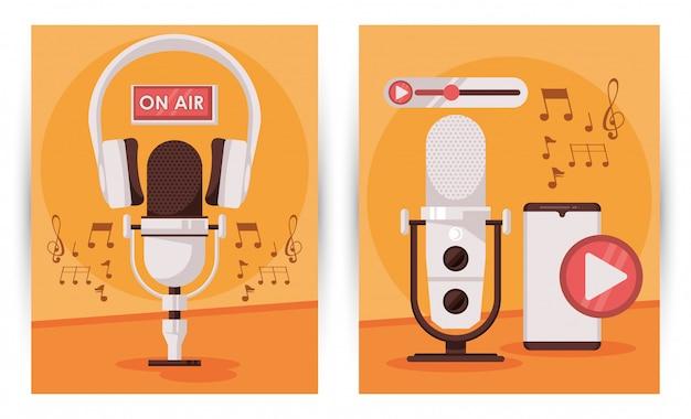 Día internacional de la radio con micrófono y teléfono inteligente.