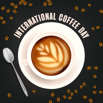 Día internacional realista del concepto de café.