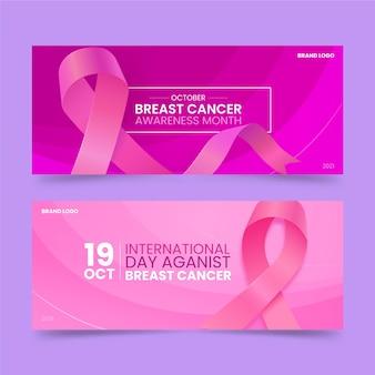 Día internacional realista contra el cáncer de mama conjunto de banners horizontales.