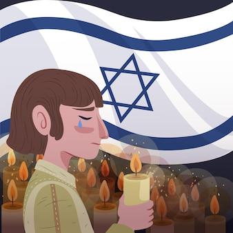 Día internacional del recuerdo del holocausto dibujado a mano