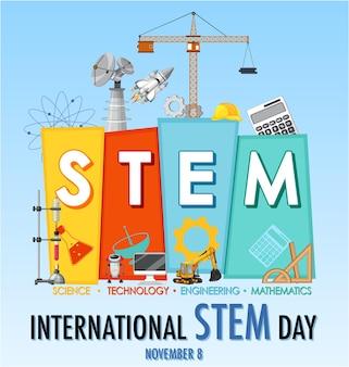 Día internacional stem el 8 de noviembre banner con logo stem
