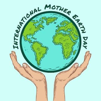 Día internacional de la tierra globo y manos dibujadas a mano