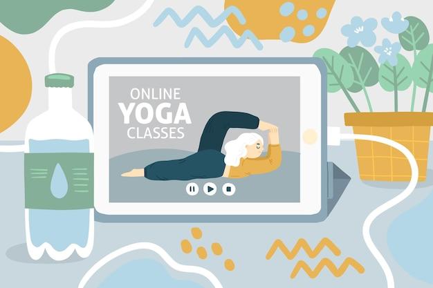 Día internacional del yoga dibujado a mano paz interior