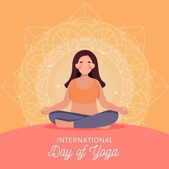 Dia internacional del yoga en diseño plano