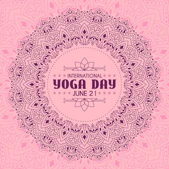 Día internacional de yoga con diseño rosado tranquilo