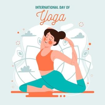Día internacional de yoga con estiramiento de mujer