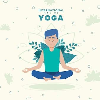 Día internacional de yoga con hombre y hojas.