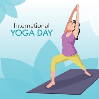 Día internacional de yoga con mujer y colchoneta