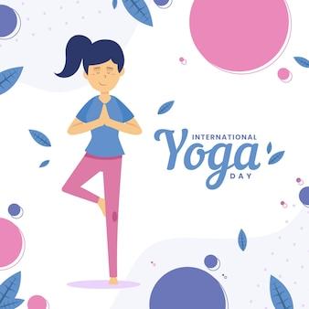 Día internacional de yoga con mujer y hojas.