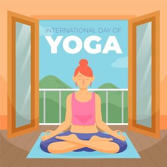 Día internacional de yoga con mujer relajante