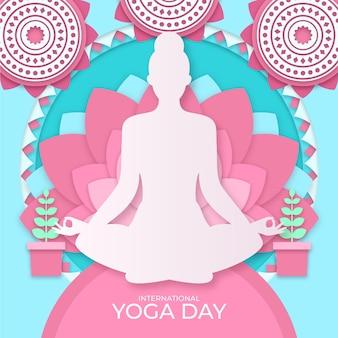 Día internacional del yoga en papel.