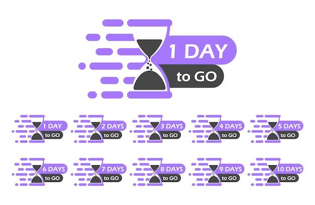 Un día para ir etiqueta, reloj de arena. el número de días restantes.
