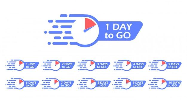 Un día para ir etiqueta, reloj. ícono de promoción. el número de días restantes.