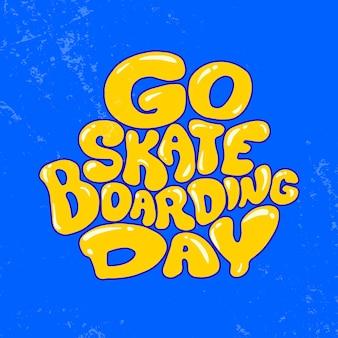 Día de ir a patinar. ilustración de diseño de carteles.