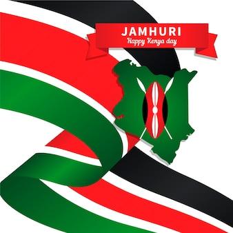 Día de jamhuri de diseño plano con mapa de kenia
