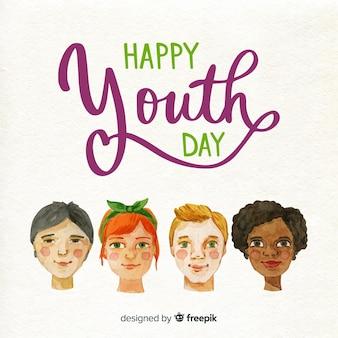 Día de la juventud cabezas de gente acuarela