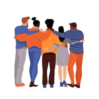 Día de la juventud plana: personas abrazándose juntas