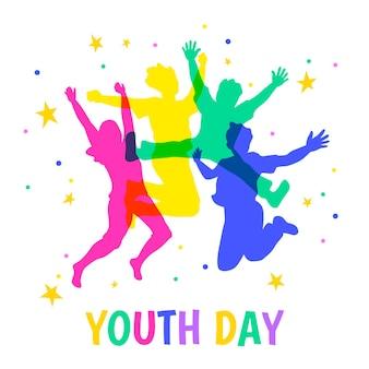 Día de la juventud saltando siluetas de personas