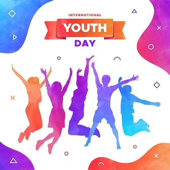 Día de la juventud - siluetas de personas saltando