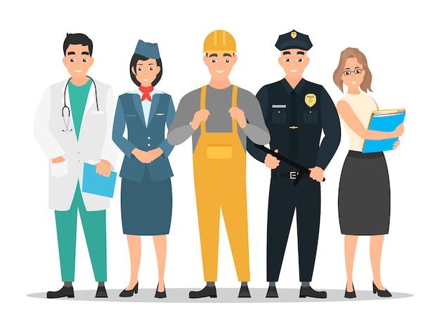 Día laboral. un grupo de personas de diferentes profesiones sobre un fondo blanco. en un estilo plano