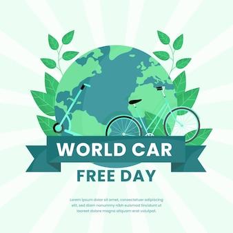 Día libre del mundo del automóvil de diseño plano