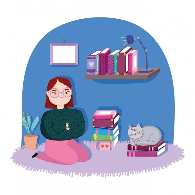Día del libro, jovencita con gato y libros en la habitación