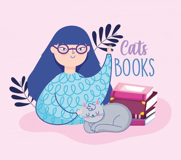 Día del libro, jovencita con gato y libros