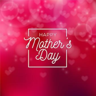 Día de la madre borrosa con corazones