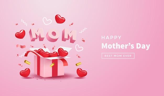 Día de la madre con caja de regalo sorpresa, corazón rojo realista, confeti y linda carta de mamá 3d sobre fondo rosa.