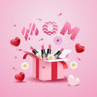 Día de la madre con caja de regalo sorpresa, corazón rojo realista, flores, confeti y linda carta de mamá en superficie rosa.