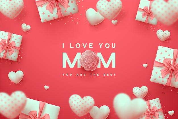 Día de la madre con cajas de regalo y globos rosas sobre fondo rojo.