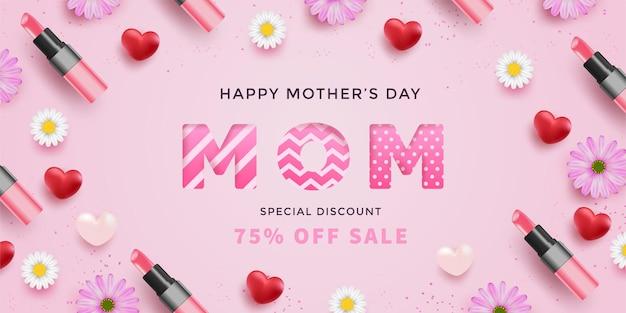 Día de la madre con corazones rojos realistas, flores, lápices labiales y letra de mamá con patrón en superficie rosa.