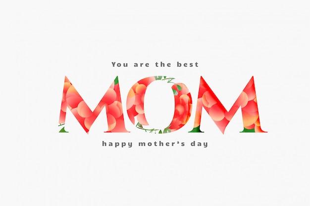 Día de la madre feliz mejor diseño de tarjeta de mamá