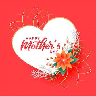 Día de la madre flor y corazones saludo fondo
