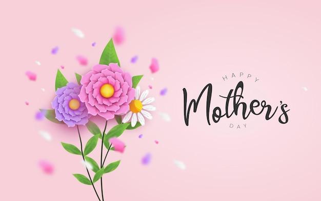 Día de la madre con flor realista y tipografía, decoración floral con tarjeta de felicitación de caligrafía.