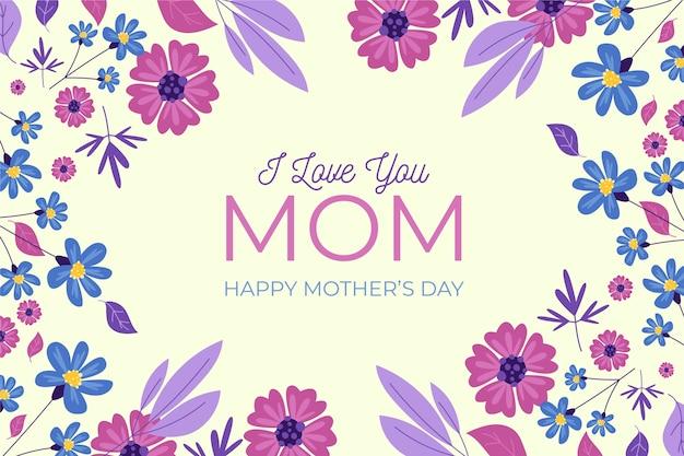 Día de la madre floral con saludo