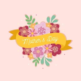 Dia de la madre con flores y cintas