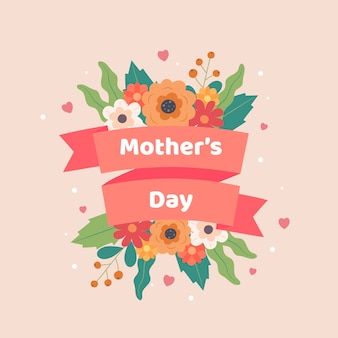 Día de la madre con flores de primavera y cintas.