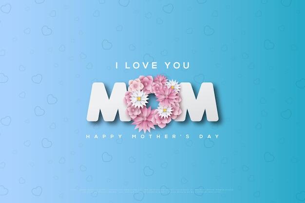Día de la madre con flores que componen la letra