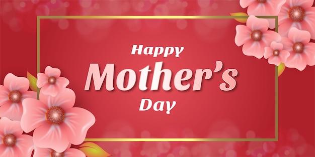 Día de la madre con flores rosas con líneas rectangulares doradas.