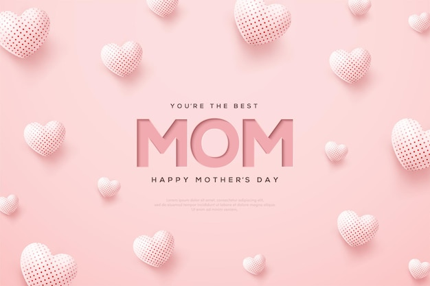 Día de la madre con globos blancos 3d.