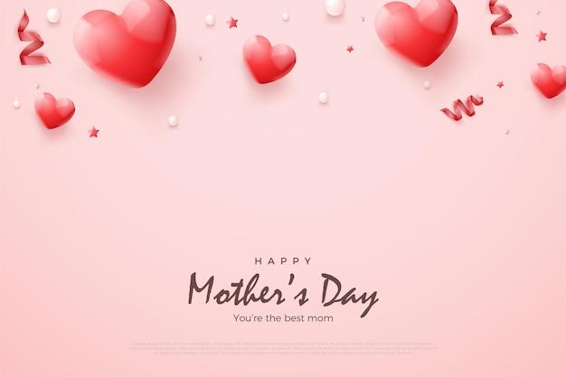 Día de la madre con globos rojos 3d.