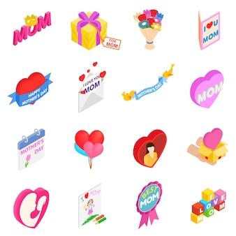 Día de la madre iconos 3d isométricos conjunto