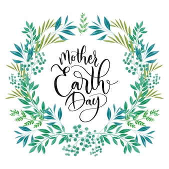 Día de la madre tierra de acuarela con hojas
