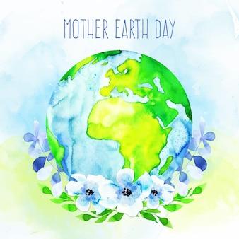 Día de la madre tierra de acuarela