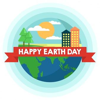 Día de la madre tierra con árboles y edificios.