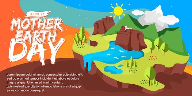 Día de la madre tierra banner ilustración de la naturaleza
