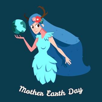 Día de la madre tierra dibujado a mano