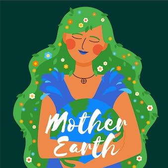 Día de la madre tierra en diseño plano
